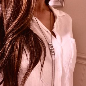 Long horizontal diamond shape necklace